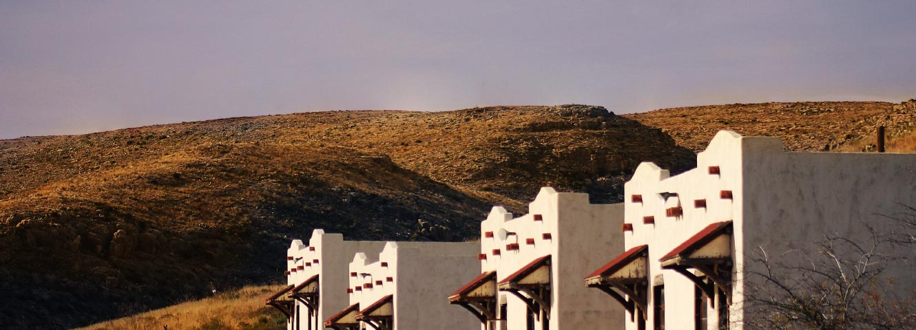 New Mexico buildings and hills